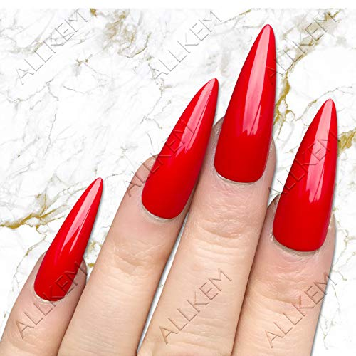 Red Pointy Halloween Nails (Red Hot Sculpted extra long Stiletto Press on fake nails - False nail tips full cover)