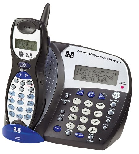 GE 5.8 GHz Cordless Phone with Answering System, Caller ID, and Speakerphone -