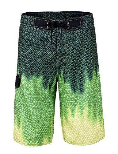 Unitop Men's Surf Swim Board Shorts Summer Quick Dry Printed Blazing Green ()