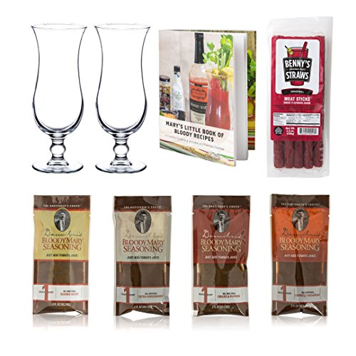 Bloody Mary Cocktail Gift Set - Glasses, Demitri's Mixes & Book - 8 Piece - Mary Glasses Bloody