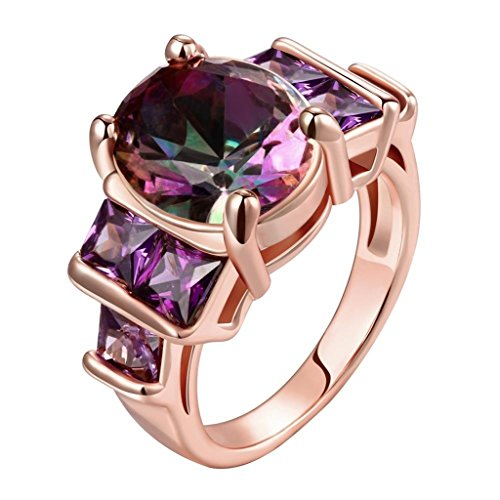 AmDxD Gold Plated Women Engagement Rings Rose Gold Big Round Purple CZ with 6 Square Prongs Size 8
