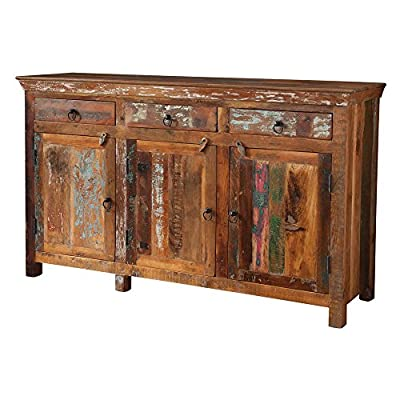 Coaster Furniture Reclaimed Wood Rustic Decorative Chest - Dimensions: 60W x 18D x 36H in. Reclaimed acacia and teak wood Varying shades of brown with old paint and distressing - sideboards-buffets, kitchen-dining-room-furniture, kitchen-dining-room - 51EJ5qrI8YL. SS400  -