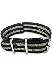 BluShark - 20mm Black and Gray Striped Nylon Strap - Black and Grey James Bond Style