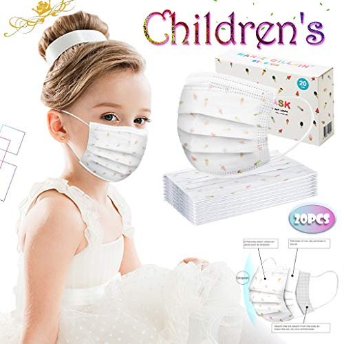20/50 PCS Disposable Face Protection, Children 3-Layer Breathable Dust-Proof Cover with Elastic Earhook (White-20PCS)