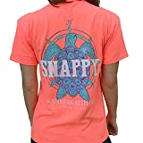 Southern Attitude Nautical Compass Snappy Turtle Heather Coral Short Sleeve Shirt (2X-Large)
