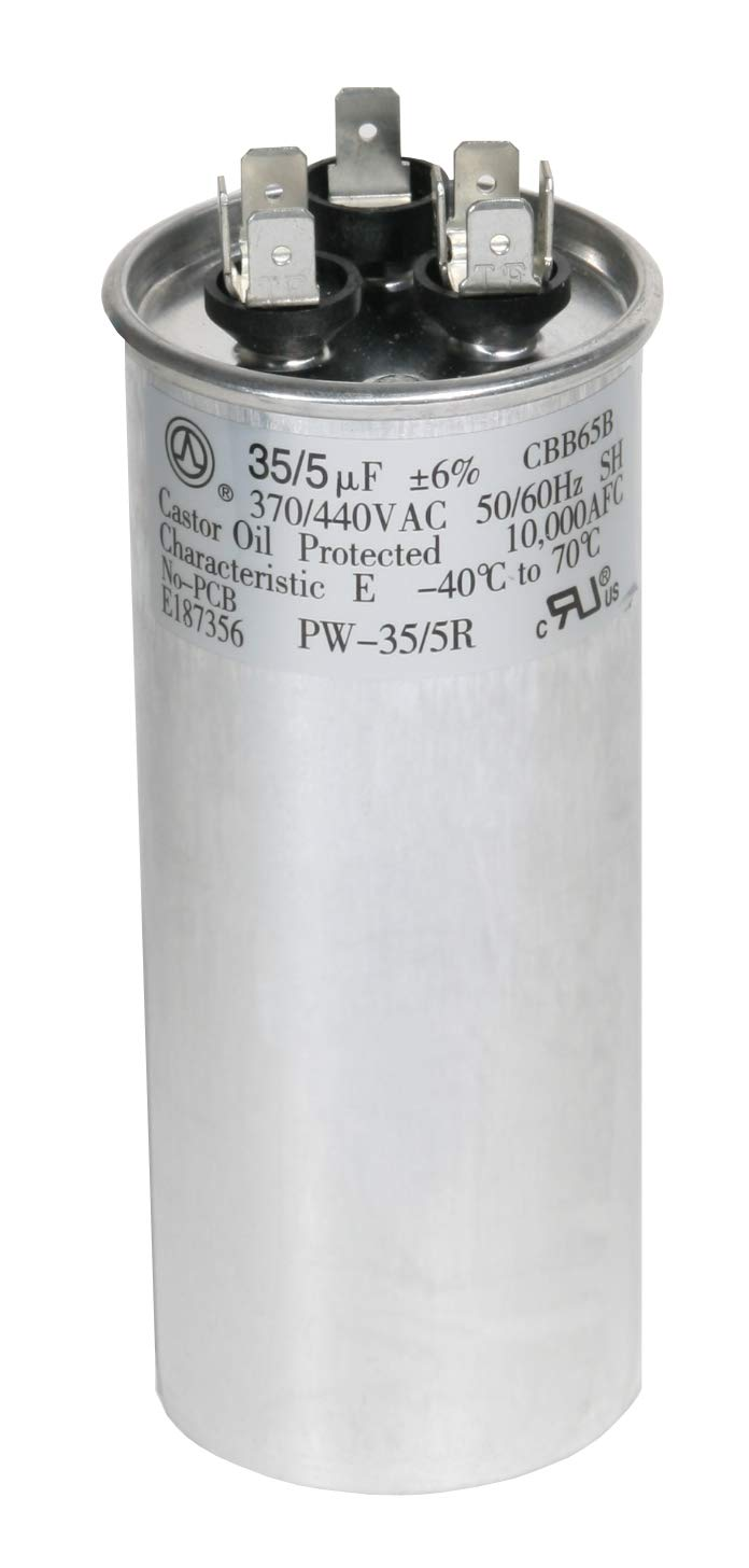 PowerWell 35 + 5 MFD uf 370 VAC or 440 Volt Dual Run Round Capacitor PW-35/5/R for Condenser Straight Cool or Heat Pump Air Conditioner 35/5 Micro Farad – Guaranteed to Last 5 Years