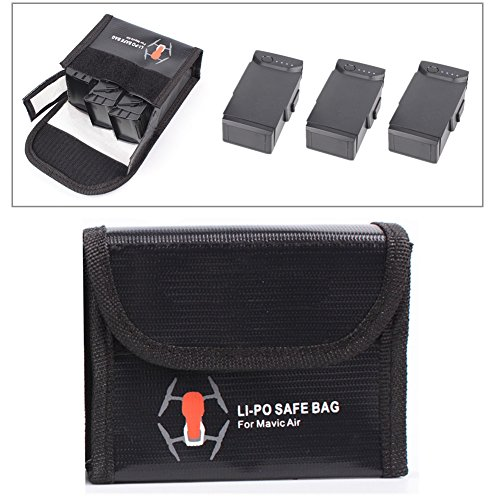 LiPo Battery Bag Case Accessories Explosion Proof Fire Resistant Safety and Storage Pouch Batteries Protector Bag for DJI Mavic Air(Black, Large)