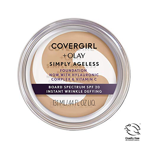 COVERGIRL & OLAY Simply Ageless Instant Wrinkle Defying Foundation, Soft Honey, 0.4 oz (Packaging May Vary)