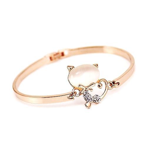 Chapado en oro rosa de ópalo piedra pulsera de gato pulsera para niña mujer, B001 - 1: Amazon.es: Joyería