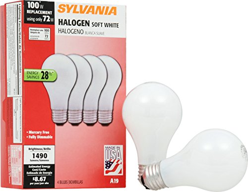 - SYLVANIA Home Lighting 52258 Halogen Bulb, A19-72W-3000K, Soft White Finish, Medium Base, Pack of 4