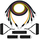 Mpow Resistance Bands , Fitness Tubes Set, with Door Anchor, Ankle Straps, Carrying Pouch for Losing Body, Strengthening, Shaping Body, Rehabilitative Exercises, for Indoor & Outdoor Use(12 Pieces)