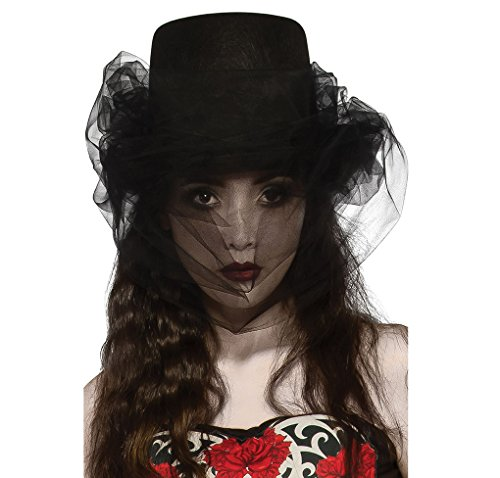Halloween Costumes Bride Of Darkness (Adult Size Black Heart of Darkness Top Hat with Veil - Opus)