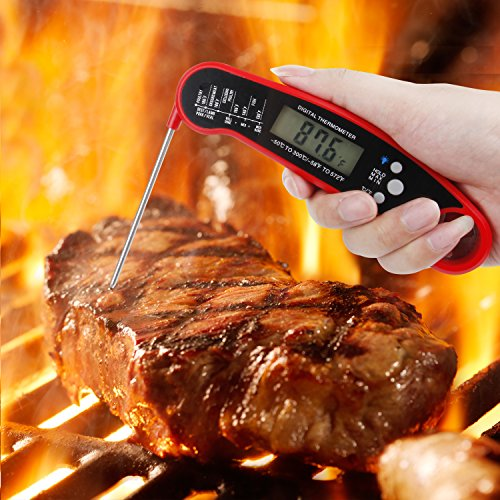 Instant Read Meat Thermometer, Digital Thermometer with Backlight / Calibration, Waterproof Ultra Fast Food Thermometer with Long Probe for Kitchen, Outdoor Cooking, BBQ, Grill, Candy by sinotron (Image #5)