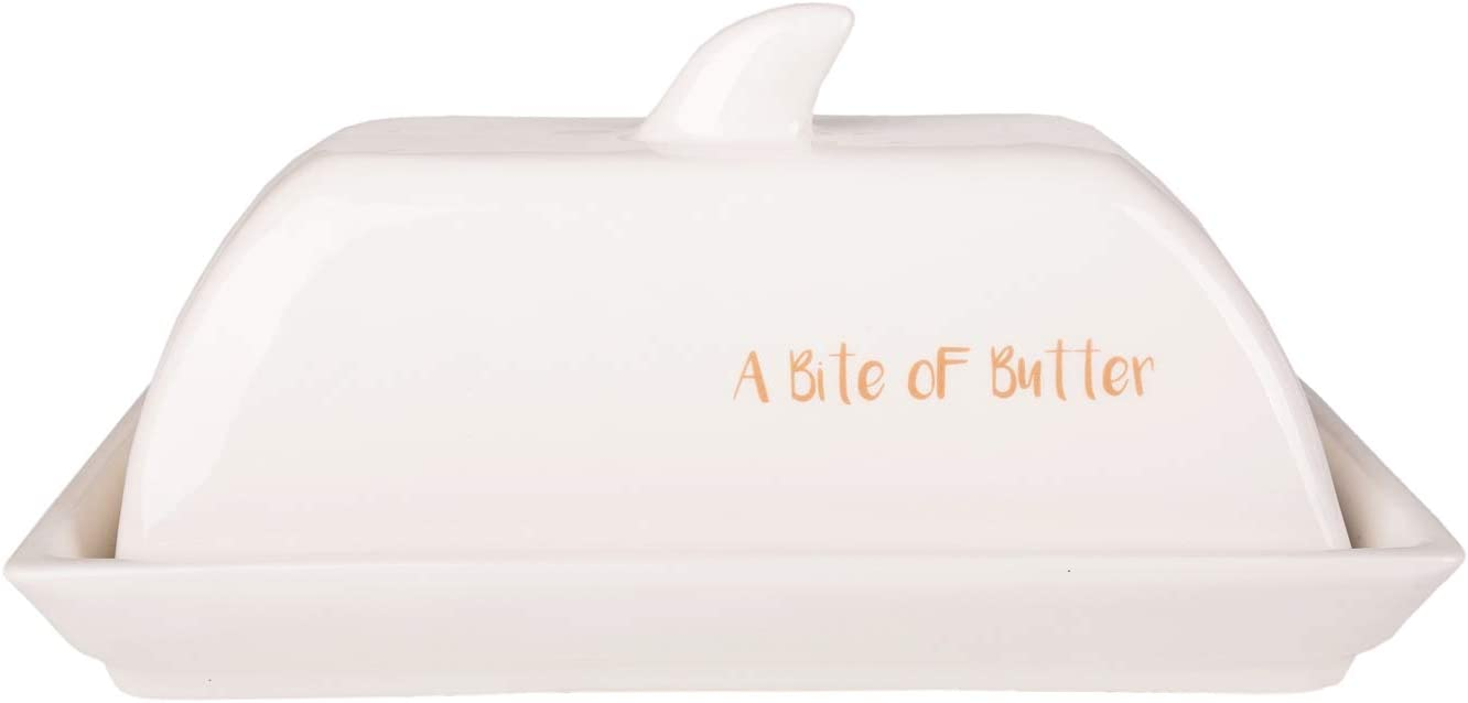 Nautical Décor 8 Inch White Ceramic Whale Shaped Butter Dish