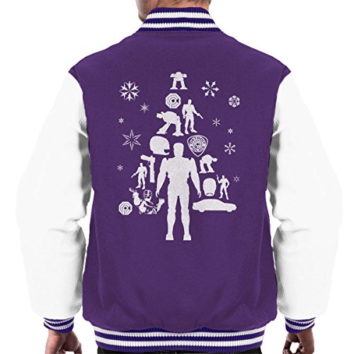 Christmas Men's Robocop Tree Purple white Jacket Varsity Silhouette wzwPO