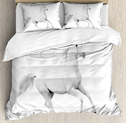 GreaBen Full Bedding Sets Boys,Black White Decorations Duvet Cover Set,White Stallion Running Horse Gallop Motion Speed Equestrian,Include 1 Flat Sheet 1 Fitted Sheet 2 Pillow Cases