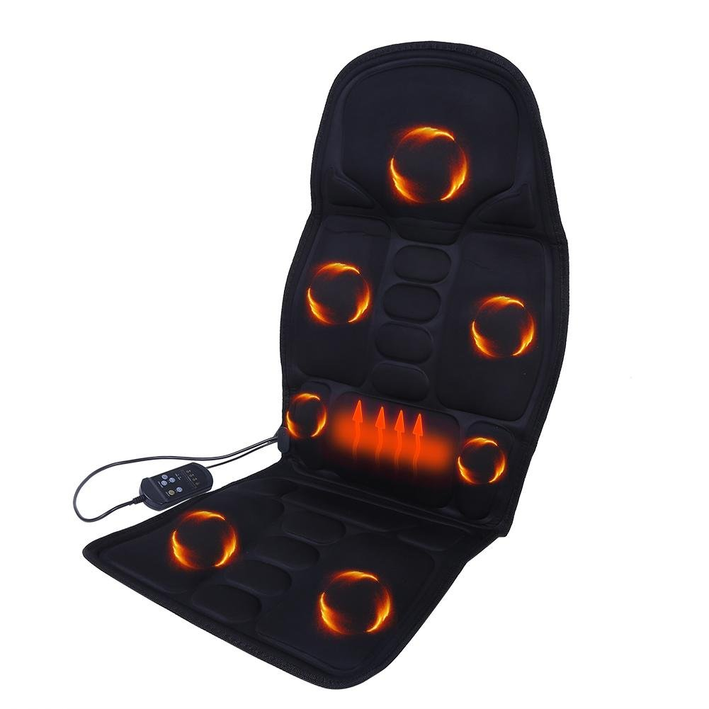 Electric Car Seat Cushion Heatable Seat Pad with 8 Massage Modes Heat Function and Shiatsu Deep Vibration Massage for Back Neck Lumbar(Black) Yotown