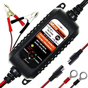 MOTOPOWER MP00205A 12V 800mA Fully Automatic Battery Charger / Maintainer for Cars, Motorcycles, ATVs, RVs, Powersports, Boat and More. Smart, Compact and Eco Friendly