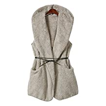 Qinol Fleece Gilet Fur Coat Hoodie Jacket Hooded Waistcoat Vest Outerwear