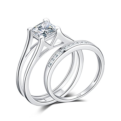 JewelryPalace 1ct Princess Cut Cubic Zirconia Anniversary Wedding Band Solitaire Engagement Ring Bridal Channel Sets 925 Sterling Silver Size 7 (Carat Solitaire 1 Setting Ring)