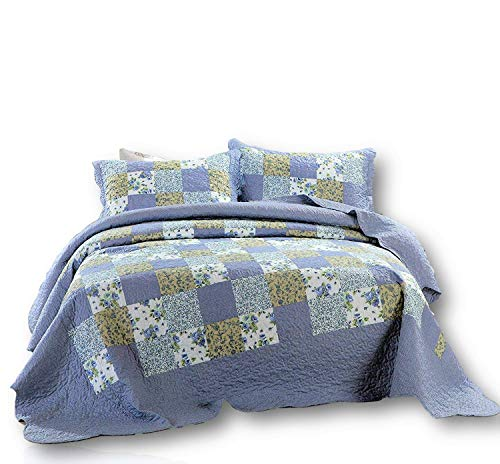 Dada Bedding Reversible Patchwork Plaid Floral Blueberry Patch Bedspread Quilt Set, Navy Blue, Full/Double, 3-Pieces