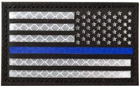 Left Black White Blue Line Left Infrared IR US USA Flag Patch Tactical Military Morale Reflective American Flag Patch Hook/&Loop Fastener Emblem Backing Multicam