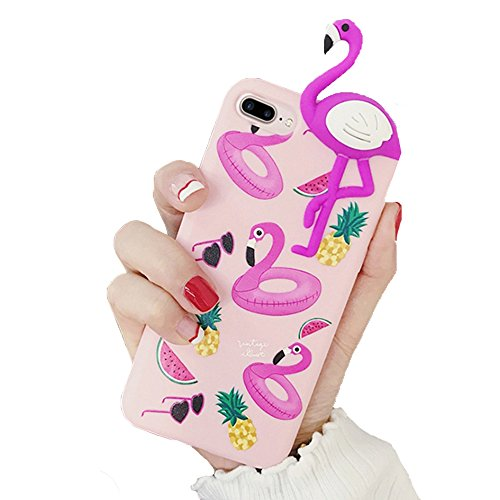 iPhone 8 Plus / iPhone 7 Plus Hülle Flamingo 3D Tier Design Fashion Case Silikon TPU Handyhülle in Pink / Rosa für Mädchen / Frauen / Girls von wortek