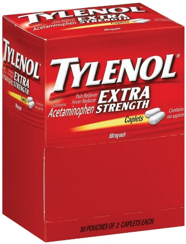 Tylenol Extra Strength Caplets, 100 Count, 500mg each (Pack of 2) by Tylenol