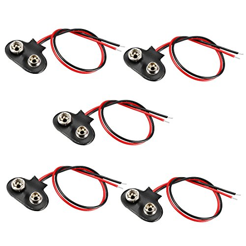 Housing Cell (uxcell 5pcs DC 9V Battery Clip T-Type Buckle Connector Faux Leather Housing Lead Wire 14.5cm Long)