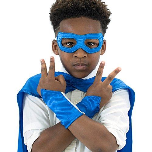 Blue Superhero Eye Mask and Powerbands - -