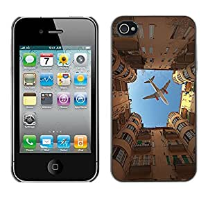 [Neutron-Star] Snap-on Series Teléfono Carcasa Funda Case Caso para iPhone 4 / 4S [Ciudad Sky Building Roma Metáfora]