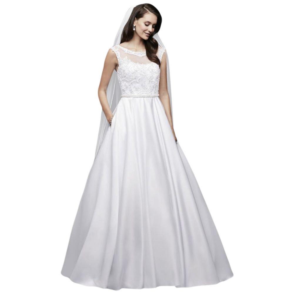 Davids Bridal Satin Cap Sleeve Ball Gown Wedding Dress Style Wg3900
