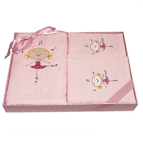 Harwoods Ballerina Childrens Gift Box 3 Piece Towel Set, Pink