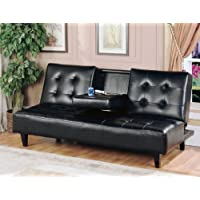 Milton Greens Stars 7502 Verano Futon Sofa Bed with Cup Holder, Black