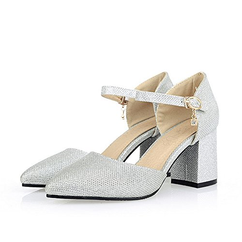 VogueZone009 Women's Blend Materials Solid Buckle Pointed Closed Toe High Heels Pumps Shoes Silver j82juWrGU1