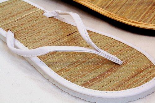 Bamboo Flip Flops Thong Sandals - Bamboo Sandals Classic Beach Thongs Flip Flops WHT 6 M US