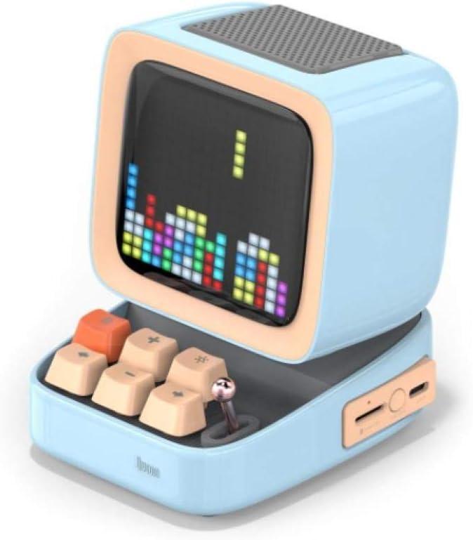 XINR Retro Pixel Art Bluetooth Portable Speaker Alarm Clock DIY Led Screen by App Electronic Gadget Gift Home Decoration-Blue