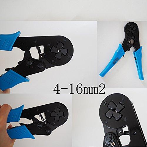Unique Adjusting Ratcheting Square Ferrule Wire Cable Crimper Plier Crimping Crimp Tool (Awg 12-6 Blue HSC8 16-4)