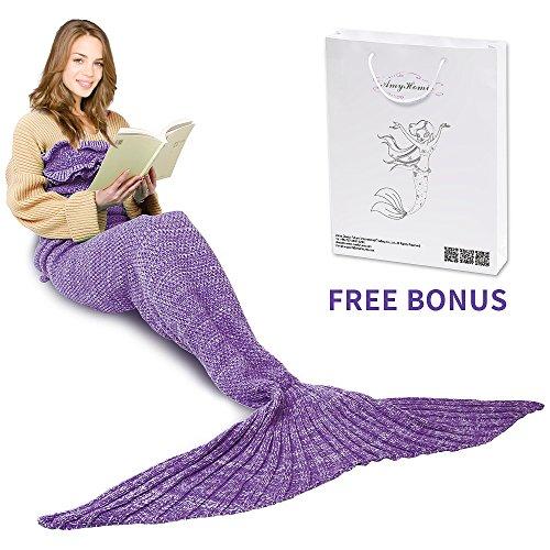 Mermaid Tail Blanket, AmyHomie Mermaid Blanket 71in Adult Mermaid Tail Blanket for Girls, Disney Little Mermaid Blankets for Kids (Adult, Purple with Ruffles)