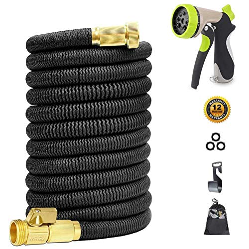 Miracle Garden Hose 50ft - Expandable Garden Hose with Double Latex Core, 3/4 Solid Brass Fittings, Extra Strength Fabric - Flexible Water Hose with Metal 8 Function Nozzle by Miracle Garden Hose Nozzle