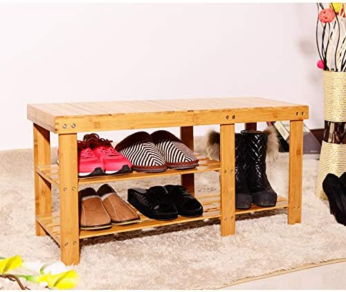 sogesfurniture Bamboo Shoe Rack Bench 3 Tier Shoe Storage Organiser, Hallway Shoes Organiser Stand Shelf, ideal for Entryway, Living Room and Corridor, 90x28x45cm, BHEU-HXD-A90XZ