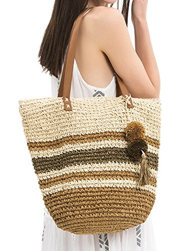 Woven Handbag Tan (Straw Crochet Tote Bag With Pom Pom Tassel-Tan/Green)