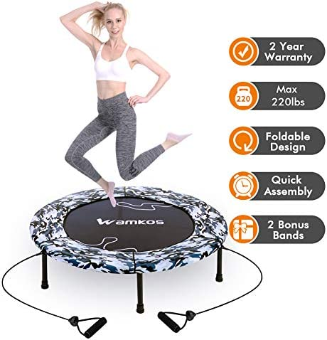 2020 Upgraded Wamkos 40″ Rebounder Mini Exercise Trampoline for Adults Kids,Indoor Foldable Fitness Trampoline Trainer with Resistance Bands for Sports & Outdoor,Yoga and Other Jumping Cardio Exercise