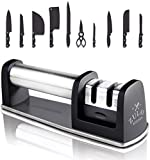 Best Manual Stainless Steel Knife Sharpener for Straight and Serrated Knives, Ceramic & Tungsten - Sharpening for Dull Steel, Paring, Chefs and Pocket Knives, Sharpens Scissors by Zulay Kitchen