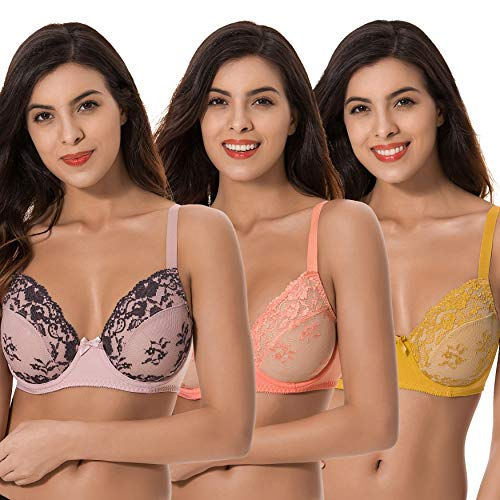 Curve Muse 3 Pack Plus Size Unlined Semi-Sheer Balconette Underwire Lace Bra-Peach,Gold,PINK-34C