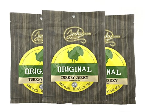 Jerky.com's Original Turkey Jerky - 3 PACK - Try Our Best Tasting Turkey Jerky Made From Whole Muscle Turkey Breast - No Added Preservatives, No Added Nitrates and No Added MSG - 9 total oz. (Best Turkey Jerky Recipe)