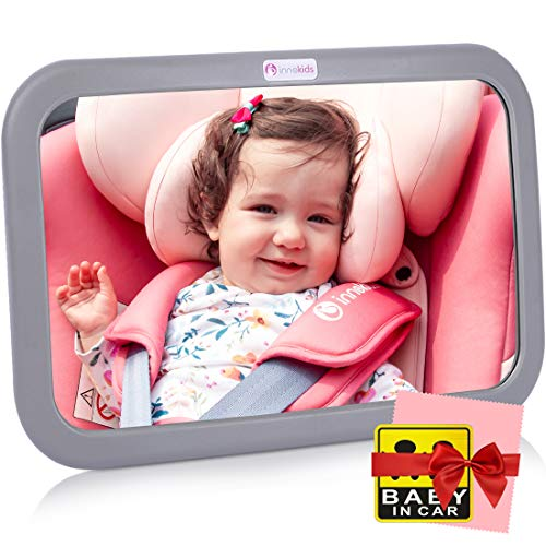 Innokids Baby Car Mirror - View Infant in Rear Facing Backseat - Wide View Shatterproof Adjustable Acrylic 360 Degree Clear Reflection - Newborn Safety Secure Double Strap System (Gray) (Best Place For Car Seat In Car)