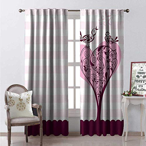 - Hengshu Sweetheart Waterproof Window Curtain Abstract Tree Swirled Branches in The Form of a Heart Birds Decorative Curtains for Living Room W72 x L84 Maroon Pink Pale Pink White