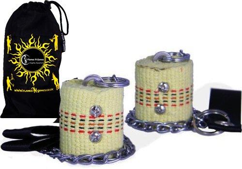 Beginner Fire Poi Set by Flames N Games - 50mm Wicks + Travel Bag!