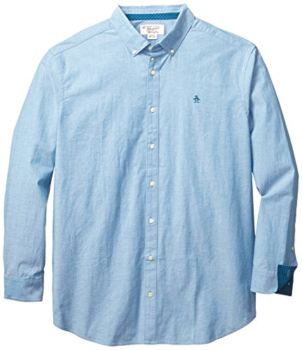 Original Penguin Men's Big-Tall Core Oxford Long Sleeve Shirt Heritage Fit, Seaport, 3X